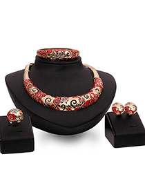 Fashion Red Hollow Out Design Irregular Shape Jewelry Sets