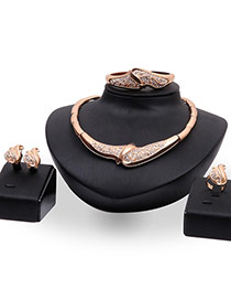 Exaggerated Gold Color Diamond Decorated Irregular Shape Design Jewelry Sets