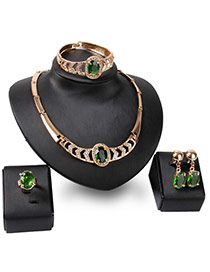 Fashion Gold Color+green Oval Shape Gemstone Decorated Hollow Out Jewelry Sets