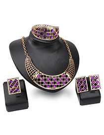 Fashion Gold Color+purple Square Shape Gemstone Decorated Hollow Out Jewelry Sets