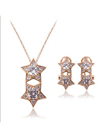 Fashion Gold Color Two Stars Pendant Decorated Superposition Design Jewelry Sets (2pcs)