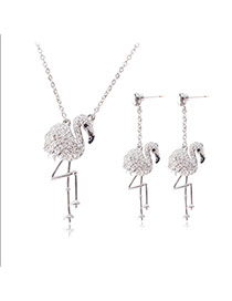 Fashion Silver Color Diamonds Decorated Swan Shape Jewelry Sets (2pcs)