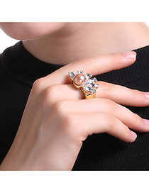 Fashion Gold Color Pearl&diamond Decorated Flower Shape Simple Ring