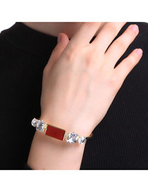 Personalized Gold Color+red Square Shape Diamond Decorated Simple Bracelet