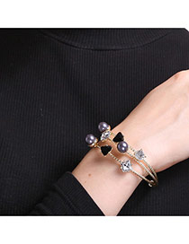 Personalized Gold Color+black Pearls&diamond Decorated Double Layer Simple Bracelets