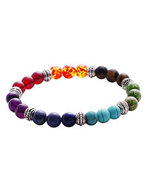Vintage Multi-color Color Matching Design Simple Buddha Beads Bracelet