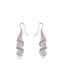 Elegant Gold Color Round Shape Diamond Decorated S Shape Earrings