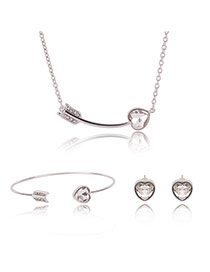 Fashion Gold Color Heart&arrow Decorated Pure Color Jewelry Sets (3pcs)