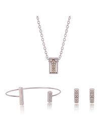 Fashion Gold Color Diamond Decorated Square Shape Simple Jewelry Sets (3pcs)
