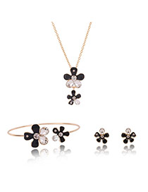Fashion Gold Color Flower Decorated Color Matching Jewelry Sets (3pcs)