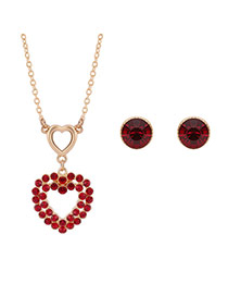 Fashion Gold Color Round Shape Diamond Decorated Hollow Out Heart Shape Jewelry Sets (2pcs)