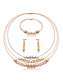 Fashion Gold Color Round Ball Decorated Pure Color Multi-layer Jewelry Sets