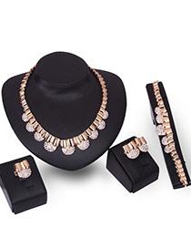 Fashion Gold Color Diamond Decorated Irregular Shape Jewelry Sets (4pcs)