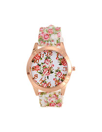 Fashion White Printing Flower Pattern Decorated Simple Watch