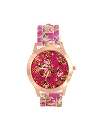 Fashion Plum Red Printing Flower Pattern Decorated Simple Watch
