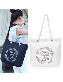 Lovely White Feather&letter Pattern Decorated Simple Canvas Bag