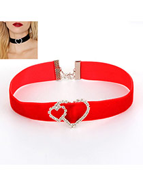 Fashion Red Hollow Out Heart Shape Decorated Short Chain Necklace