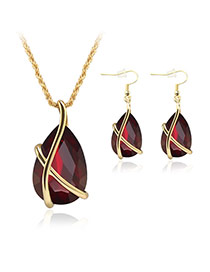 Delicate Red Oval Diamond Pendant Decorated Simple Jewelry Sets