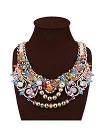 Exaggerate Multi-color Round Shape Decorated Hollow Out Necklace