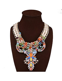 Exaggerate Multi-color Geometric Shape Diamond Decorated Short Chain Necklace