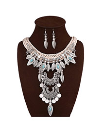 Bohemia Silver Color Leaf & Round Shape Decorated Tassel Jewelry Sets