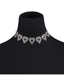 Vinatge Silver Color Flower Decorated Hollow Out Choker