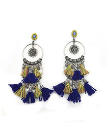 Bohemia Blue Round Shape Decorated Tassel Simple Earrings