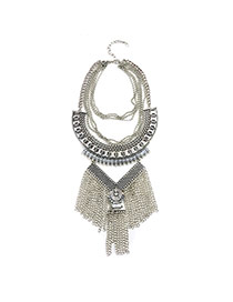 Exaggerate Silver Color Metal Tessal Pendant Decorated Short Chain Necklace