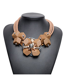 Exaggerate Brown Square Shape Pendant Decorated Simple Tassel Necklace