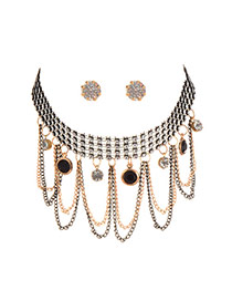 Fashion Black Round Shape Pendant Decorated Nultilayer Jewelry Sets (with Earrings)