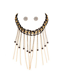 Fashion Black Round Shape Pendant Decorated Tassel Jewelry Sets(with Earrings )