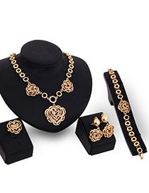 Elegant Gold Color Flower& Round Shape Pendant Decorated Short Chain Jewelry Sets