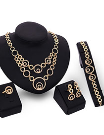 Personality Gold Color Diamond& Round Shape Pendant Decorated Hollow Out Jewelry Sets