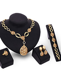 Elegant Gold Color Diamond&oval Shape Decorated Simple Hollow Out Jewelry Sets