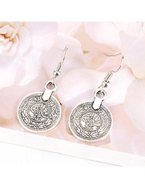 Vintage Silver Color Coin Shape Pendant Decorated Simple Earrings