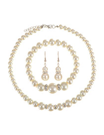 Vintage Milk White Pearl&diamond Decorated Simple Jewelry Sets