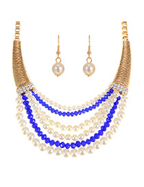 Elegant Royalblue Pearl Pendant Decorated Multilayer Short Chain Jewelry Sets