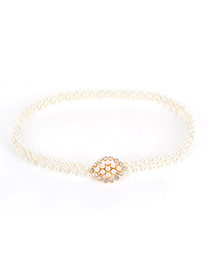 Elegant Gold Color Pearl & Diamond Decorated Simple Belt