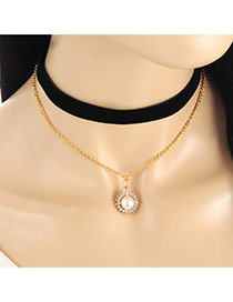 Lovely Black Round Shape &pearl Decorated Double Layer Choker