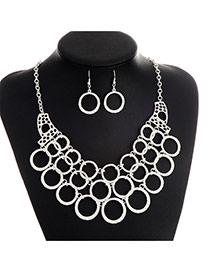 Fashion White Round Shape Decorated Hollow Out Short Chain Jewelry Sets