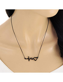 Lovely Black Heart Shape Pendant Decorated Long Chian Necklace