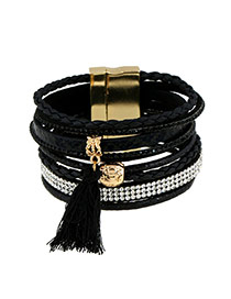 Bohemia Black Tassel Pendant Decorated Multi-layer Bracelet