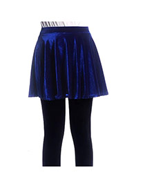 Fashion Sapphire Blue Pure Color Decorated Simple Short Pleated Skirt