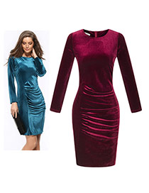 Elegant Claret-red Pure Color Decorated Long Sleeve O Neckline Tight Dress