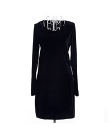 Trendy Black Pure Color Decorated Long Sleeve O Neckline Tight Dress