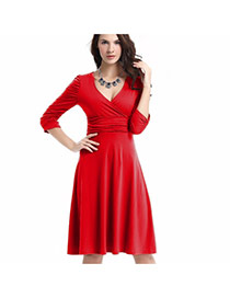 Sexy Red Deep V Neckline Decorated Pure Color Long Sleeve Dress