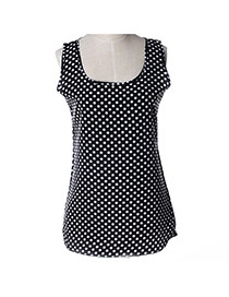 Trendy Black Wave Point Decorated Simple Design Sleeveless Garment