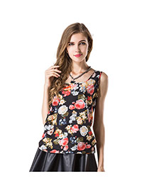 Fashion Black Flower Pattern Decorated Simple Design Sleeveless Garment