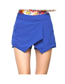 Fashion Sapphire Blue Pure Color Decorated Irregular Shape Design Skirt