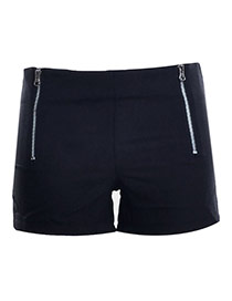 Fashion Black Double Zip Decorated Simple Design Pure Color Shorts